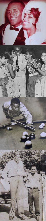 "Images: (from top to bottom) Roberto and Vera at their wedding; a group of female fans; Roberto relaxing with a game of billiards; Roberto posing with the ""Giant of Carolina,"" Rafael Birriel."