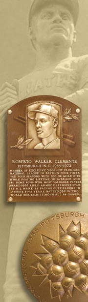 Images: (from top to bottom) Life-size statue of Clemente by Juan Orcena outside the Coliseo Roberto Clemente in Puerto Rico; Clemente's original bronze plaque at the Baseball Hall of Fame; bronze medallion