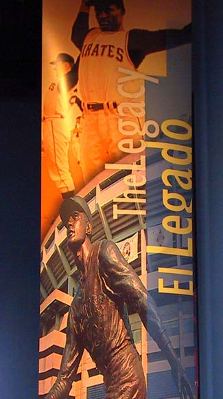 Image: Montage depicting Clemente stretching and a statue honoring him outside of former Three Rivers Stadium.