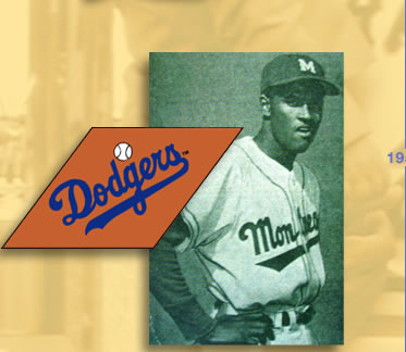 Images: (from top to bottom) Clemente in Montreal Royals uniform, a team affiliated with the Brooklyn Dodgers, and a Dodgers Logo.